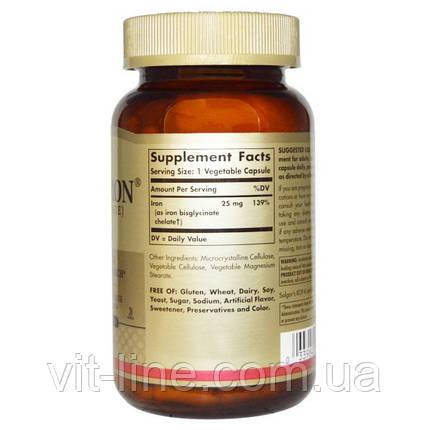 Solgar, Gentle Iron,  Железо 25 мг, 180 растительных капсул, фото 2