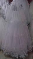 Свадебная длинная фата в три слоя с вышивкой (КВ-В-3-длин-к) кремовая