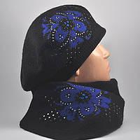 Комплект «Жаклин», берет и шарфик, с синим орнаментом и стразами