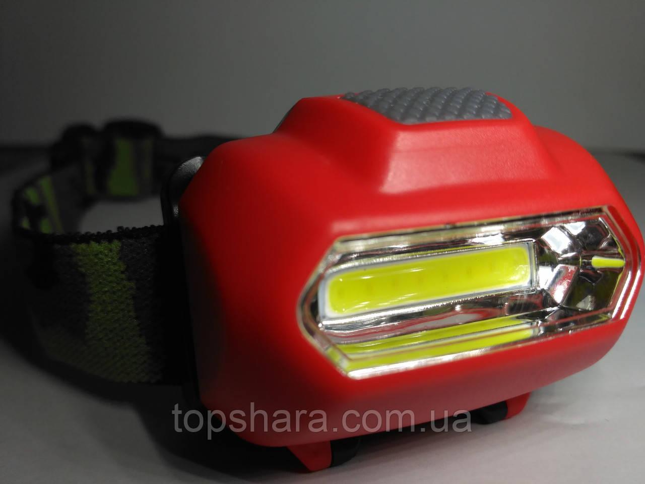 Налобный фонарик Bailong BL-2088 COB красный Оригинал!