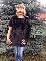 """Шуба-трансформер """"Шанель"""" из скандинавской норки окрашеной в тёмно-коричневый цвет 75 см, фото 1"""