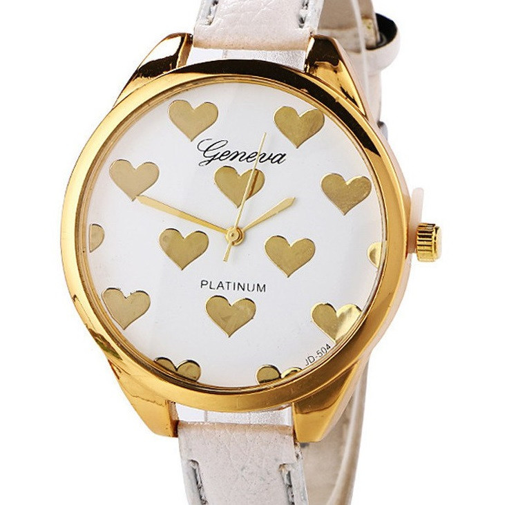Часы Geneva hearts (white) - гарантия 6 месяцев