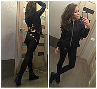 Модный спортивный черный костюм Адидас для девушек