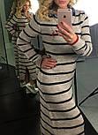 Женское модное длинное платье в полоску с джинсовым воротником (2 цвета), фото 3