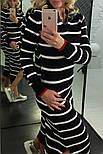 Женское модное длинное платье в полоску с джинсовым воротником (2 цвета), фото 5