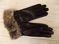 Перчатки кожаные с мехом кролика рекс