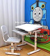 Комплект Детская парта и стул растущие  (серый) + подарок, фото 1