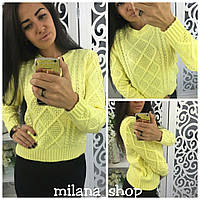 Женский повседневный короткий свитер крупная вязка цвет желтый, фото 1