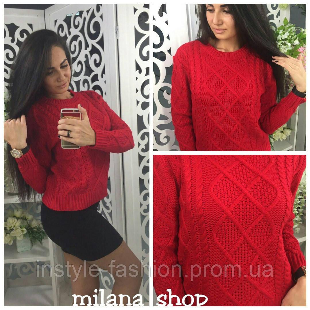 Женский повседневный короткий свитер крупная вязка цвет красный, фото 1