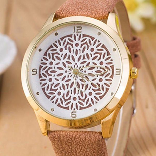Часы Geneva pattern (beige) - гарантия 6 месяцев