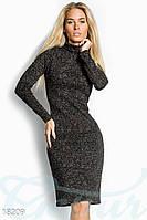 Трикотажное меланжевое платье. Цвет коричневый меланж.