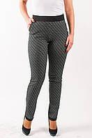 Трикотажные женские брюки цвет черный с белым