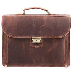 Кожаный мужской портфель РВМ-1 коричневый крейзи
