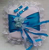 Свадебная подушка под кольца № 8 (бирюзовая)