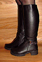 Сапоги кожаные  на устойчивом каблуке (цепи)