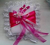 Свадебная подушка под кольца № 8 (малиновая)