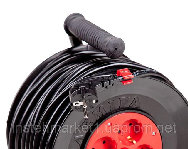 Удлинитель на катушке У16-01 ПВС сечение 3x1,5 длина 30 м с контурным заземлением в интернет-магазине