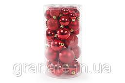 Набор ёлочных шаров, цвет красный 40 шт (6 см, 5 см, 4 см, 3 см)