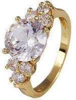 Кольцо Lady позолота Gold Filled с цирконами (GF450) Размер 17