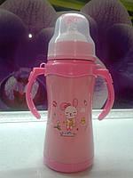 Термос детский вакуумный нержавеющая сталь 0,22л. розовый, фото 1