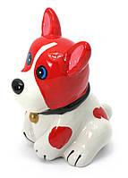 Копилка Собака керамика красно-белая