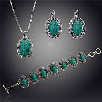 Комплект (подвеска+серьги+браслет) с зелеными камнями (акрил), под малахит