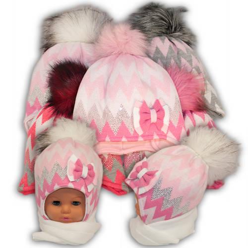 Детский комплект - шапка и шарф для девочки, Ambra (Польша), утеплитель Iso Soft, P2210