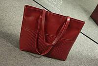 Женская вместительная бордовая сумка код 3-225