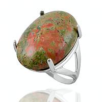 Унакит яшма, серебро 925, кольцо, 093КЯ