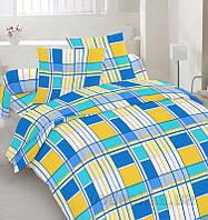 Комплект постельного белья TM Nostra Бязь Люкс желто-синяя клетка Двуспальный евро комплект
