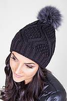 Двойная женская шапка с помпоном из натурального меха черная
