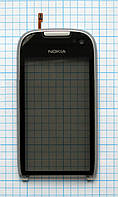 Тачскрин сенсорное стекло для Nokia Lumia 701 with frame silver