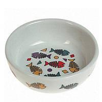 Керамическая миска с рисунком цветных рыбок color fish Karlie-Flamingo для котов , 13*4 см