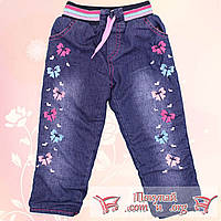 Турецкие утеплённые джинсы на резинке для девочек от 2 до 5 лет (4839)