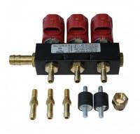 Газові форсунки Valtek на 3 циліндри опором 3 Ом зі штуцерами калібрувальними та в колектор