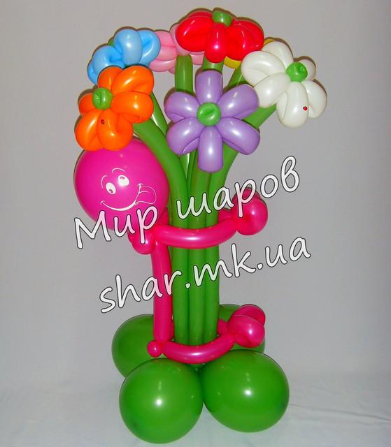 Букет из воздушных шаров. 7 цветочков с подставкой и человечком