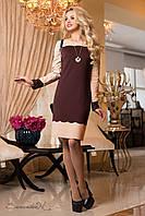Утонченое платье с перфорацией из французского трикотажа шоколадно-бежевого цвета