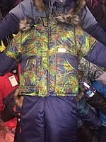 Зимний детский комбинезон (костюм) для мальчика сливово-салатовая паутинка