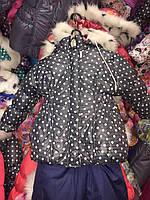 Зимний комбинезон (костюм) для девочки Черный в горошек