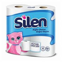 Туалетная бумага, целлюлоза. 2 слоя. Silen, 4 штуки