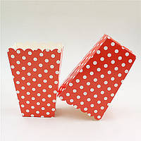 Коробочка для попкрна красная в горошек