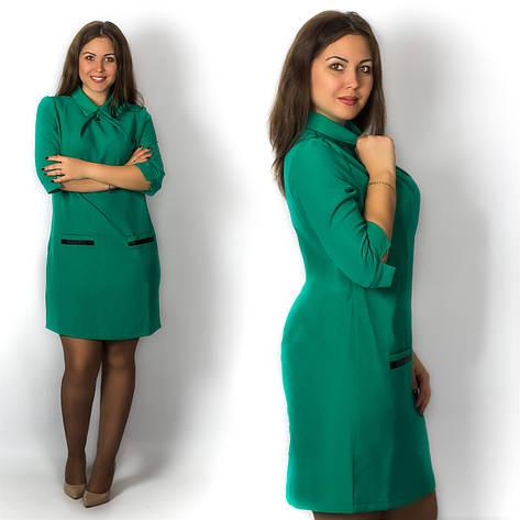 Зелёное платье 15571, большого размера, фото 2