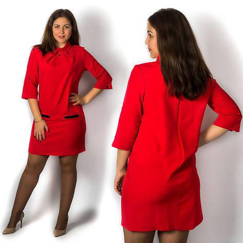 Красное платье 15571, большого размера, фото 2