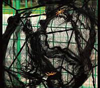 Паутина черная «Spider Webs» с двумя паучками