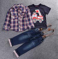 Детский комплект с рубашкой и джинсами для мальчика, тройка