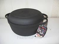 Кастрюля  чугунная  с чугунной крышкой-сковородой. Объем 8,0 литра, 300х140 мм, фото 1