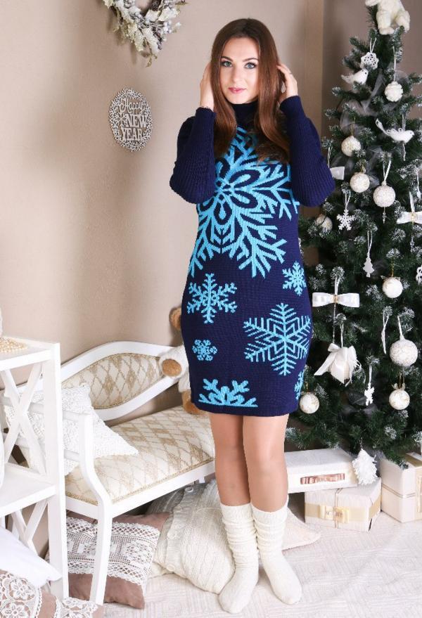 Трикотажное платье - Снежинка