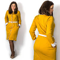 Горчичное платье 15573, большого размера