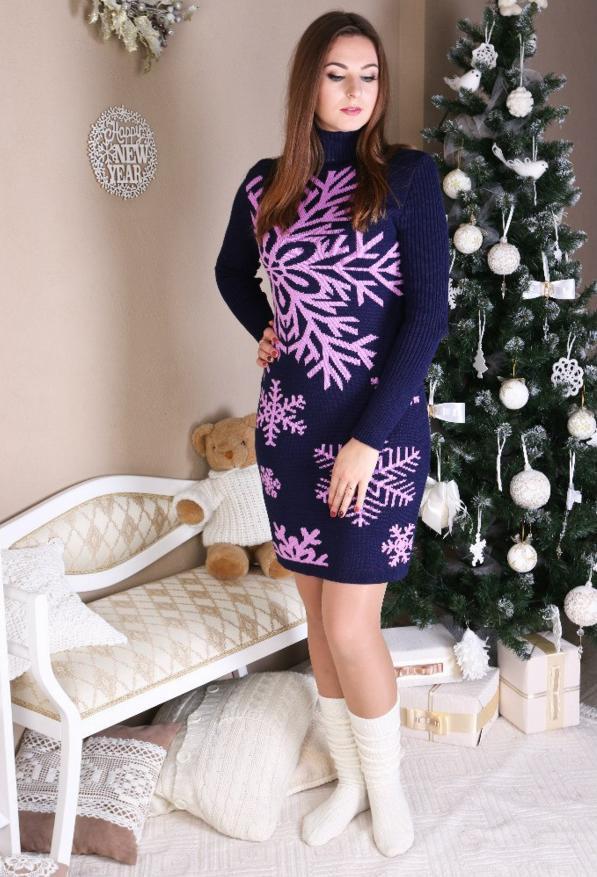 Вязаное теплое  платье - Снежинка