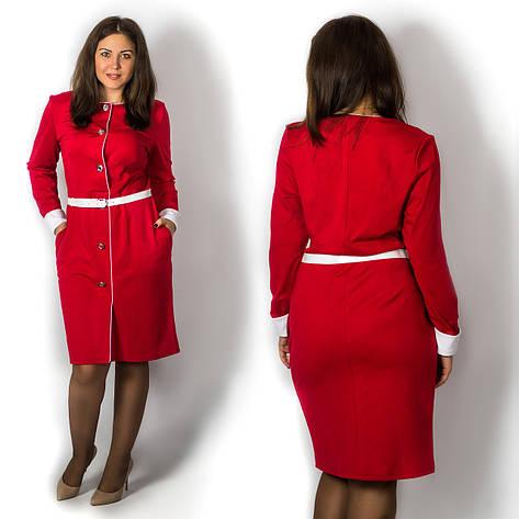 Красное платье 15573, большого размера, фото 2